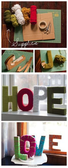 Cardboard letters with yarn.