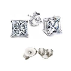 9.00 Carat Princess Total Weight Silver Stud Earrings 925 Sterling Mark. 4.50 Carat Each Princess Cubic Zirconia Top Graded Cz. Includes FREE 3RD Backing At No Extra Cost hypoallergenic earrings...$0.01