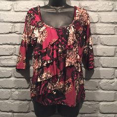 AGB blouse size small Beautiful maroon, white, gray, black, and gold blouse. Stretchy and comfortable. Worn once or twice. In new condition. Size small. 96% polyester 4% spandex.                                            NO TRADES/ PAYPAL ✔DON'T ASK FOR MY LOWEST PRICE, PLEASE USE OFFER BUTTON ❤️BUNDLE TO SAVE! ⏳I ONLY HOLD ITEMS FOR 24 HOURS AGB Tops Blouses