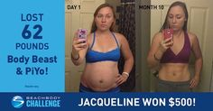Jacqueline lost 62 lbs using #Piyo and Bodybeast.