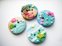 Button Tiny Island handmade polymer clay buttons ( 4 ) on Etsy, $11.00