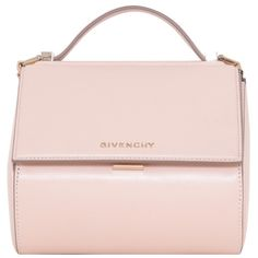 Givenchy Nude leather Pandora Box mini bag ($1,801) ❤ liked on Polyvore featuring bags, handbags, shoulder bags, pink, summer handbags, leather handbags, pink leather purse, leather purse and mini handbags