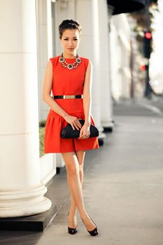 Obsessing over @Wendy's Lookbook in a bright red DVF dress & Stella & Dot Estate Bib Necklace