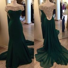 New Beading Long Emerald Green Mermaid Party Evening Prom Dress Formal Gowns