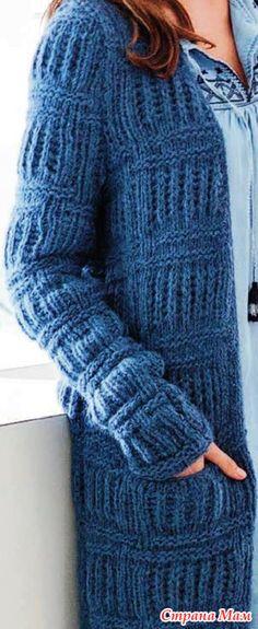 . Синее пальто из поперечных полос патентным узором (спицами) - Вязание - Страна Мам