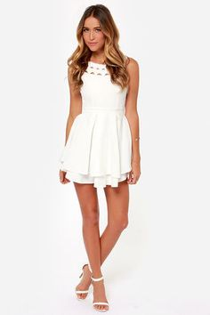 Flirting with Danger Cutout Ivory Dress - $55 : Fashion Shop By Color at LuLus.com