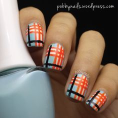 Burberry inspired manicure with a colour twist. Visit http://pobbynails.wordpress.com/2014/09/11/burberry-inspired-manicure/ for a pictorial!