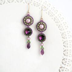 Purple earrings, Long earrings, Long drop earrings, Purple gold earrings, Purple bridal jewelry, Purple crystal earring, long beaded earring