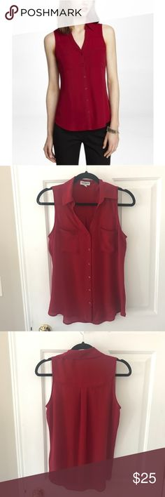 Express - The Portofino Shirt - Dark Red Express - The Portofino Shirt   Size: S Color: Maroon/deep red  Button-down 100% polyester   Excellent condition Smoke-free home Express Tops Button Down Shirts