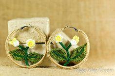 Crochet Flower Earrings  - Hoop Earrings Jewelry - Flower Themed Chunky Earrings - JE076