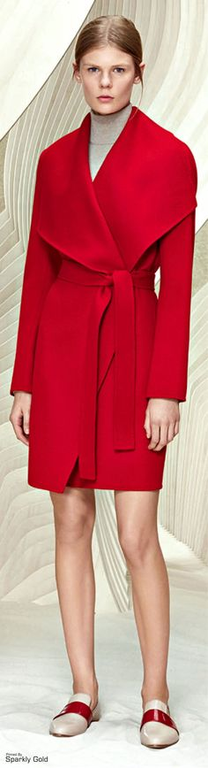 Boss Resort 2016 red coat women fashion outfit clothing style apparel @roressclothes closet ideas