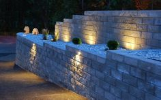 spots LED encastrables pour le mur de soutènement dans le jardin