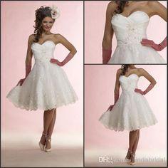 Wholesale Short Wedding Dress - Buy 2014 Short Wedding Dresses Strapless White Taffeta Tulle Lace Applqiue Beading Bridal Dress Wedding Gown S27, $106 | DHgate