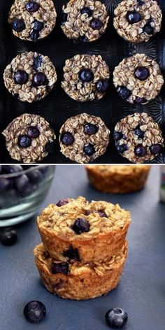 These Banana Blueberry Baked Oatmeal Cups are vegan and gluten-free! These delicious and healthy recipes for breakfast are easy to make! They are made with oats, vanilla almond milk, maple syrup, coconut oil, bananas, and blueberries. Pin this tasty healthy meal!