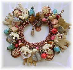 Elephant Charm Bracelet Cameos Turquoise Stones by The Vintage Heart <3