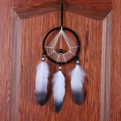 New Gossip Black White Dream Catcher Net With Feathers Wood Bead Dream Catcher Car Ornament Home Decoration Gift