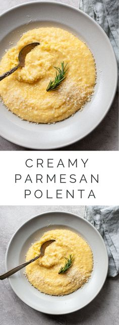 Creamy Polenta with Parmesan Cheese A fantastic cheesy polenta recipe, a basic comfort food with cornmeal that has perfectly creamy texture. - How to Make Creamy Polenta with Parmesan: A recipe for the best cheesy polenta, with a perfect creamy texture. Polenta Crémeuse, Polenta Cakes, Polenta Recipes, Creamy Polenta, Italian Polenta, Creamy Cheese, Vegetarian Recipes, Cooking Recipes, Side Dishes