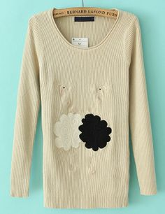 Apricot Long Sleeve Crane Embroidered Knit Sweater US$30.66