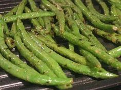 Marinated grilled green beans