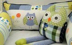 Kit berço patchwork coruja menino www.ateliecolorir.com.br