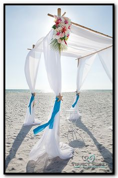 Beach Wedding Bamboo Canopy with White Fabric
