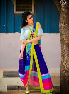 Latest Collection of Saree & Blouse Designs in the photo gallery. Saree & Blouse styles from India's Top Online 🛒Shopping Sites. Dhoti Saree, Anarkali, Indowestern Saree, Lehenga, Stylish Sarees, Stylish Dresses, Fashion Dresses, Saree Wearing Styles, Saree Styles