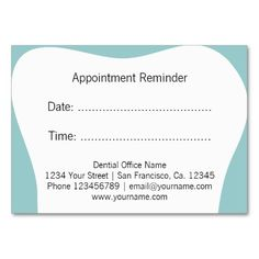 Dentist Appointment Reminder Cards