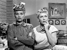 Lucille Ball Funny | Lucy (Lucille Ball) and Ethel (Vivian Vance) rack their brains to ...