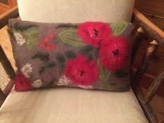 Wet felted pillow made by Leslie Cervenka/Bluebird Woolen Arts