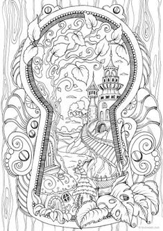 Keyhole – Printable Adult Coloring Page from Favoreads Coloring book pages for adults and kids Coloring sheets Coloring designs – Bilder zum ausmalen - Pour Vous Coloring Pages For Grown Ups, Detailed Coloring Pages, Fairy Coloring Pages, Printable Adult Coloring Pages, Disney Coloring Pages, Coloring Pages To Print, Coloring Books, Kids Coloring, Colouring Pages For Adults