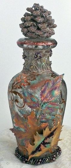 "Altered Bottle - To see more of my art, download free images, and learn new techniques checkout my Blog ""Artfully Musing"" at http://artfullymusing.blogspot.com"