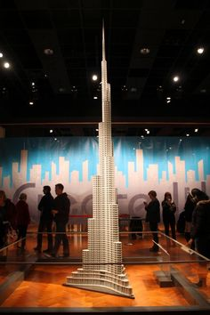 A replica of Dubai's Burj Khalifa (the tallest building in the world), made entirely of LEGOs.     #TheHenryFord #ToweringAmbition - via #WadingInBigShoes