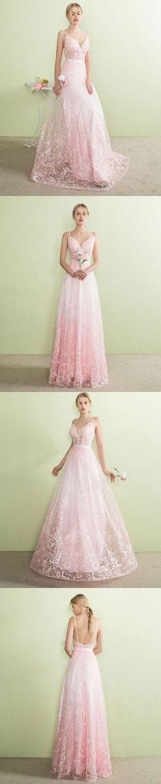 Pink v neck lace long prom dress, pink evening dress #EveningDresses