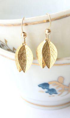 Grecian Goddess Earrings Leaves earrings by LittleWhiteDresser, $15.00