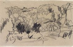 (Landscape), (1867-1947) by Pierre Bonnard. Pencil Drawing  Art Gallery NSW
