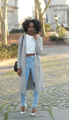 fashion, black girl, street style, gray outfit, curly hair, black womens inspiration, fall outfit, crop top