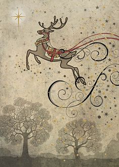 BugArt Christmas Paper & Foil ~ Leaping Rudolph. CHRISTMAS PAPER & FOIL Designed by Jane Crowther.