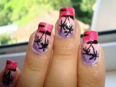 Palm tree nail design