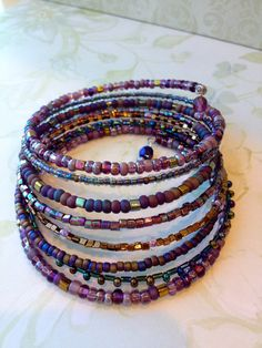 Layered Beaded Wrap Memory Wire Bangle by KimberlysCraftini, $25.00  SOLD thank you Carolyn P