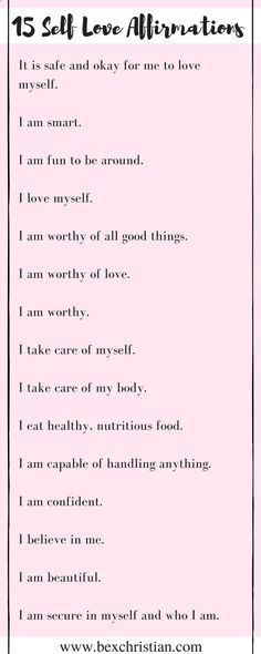 15 Self Love Affirmations - click now for access to a FREE law of attraction and self love resource library, or pin to save for later! www.bexchristian.com