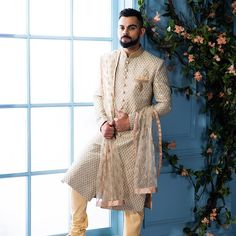 Cruising through vintage designs… Styled in Manyavar's unique sherwani, is looking suave and royal in his sleek outfit. Best Wedding Suits, Wedding Dresses Men Indian, Wedding Dress Men, Wedding Outfits, Wedding Wear, Manyavar Sherwani, Wedding Sherwani, Groom Outfit, Groom Dress