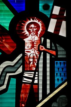 Stained Glass Window of Christ inside Almudena Cathedral Madrid Spain