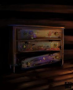 The Archeron sisters' drawer; flowers for Elain, fire for Nesta, and the starry night for Feyre ♡