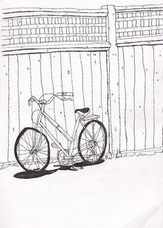 Bike art print- 5x7 - My trusty wheels by Marie-Noëlle Wurm, $15.00