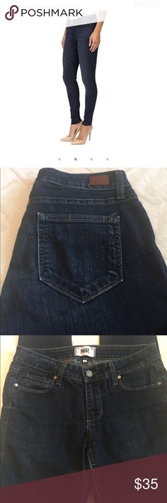 Paige Verdugo Ultra Skinny 28 x 30 Paige Verdugo Ultra Skinny 28 x 30 Inseam; Waist flat 14 1/2 across; front rise 8 in. Great like new condition in a great shade of med blue and Stretch. Paige Jeans Jeans Skinny