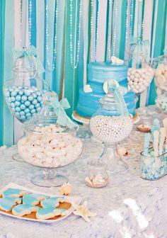 sparkly-blue-dessert-table  Mermaid Under the Sea kids birthday party ideas   #kids #party #mermaid