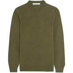 Givenchy Distressed sweater in army-green cashmere (1,135 BAM) ❤ liked on Polyvore featuring tops, sweaters, givenchy, jumper, shirts, army green, crew-neck sweaters, cashmere sweater, olive green shirt and crew neck sweaters