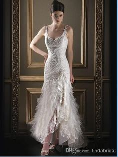 Wholesale Lace Wedding Dress - Buy 2014 Lace Wedding Dress Spagheti Straps Ankle Length Chapel Train Bridal Dress A-line Lace Tulle Side Slit Sexy Hi-low Wedding Gown L30, $132.61 | DHgate.com