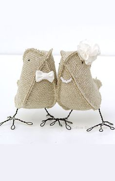 Cute rustic elegant burlap love birds wedding decorations. Use them as a cake topper or table decor. Scroll to number 4 on the page.