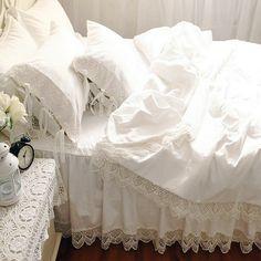 Белое Кружево Принцесса покрывало постельного белья Класса Люкс 4 шт. Оборками Сплошной Цвет пододеяльник кровать юбка постельное белье постельное белье хлопок 4 размер